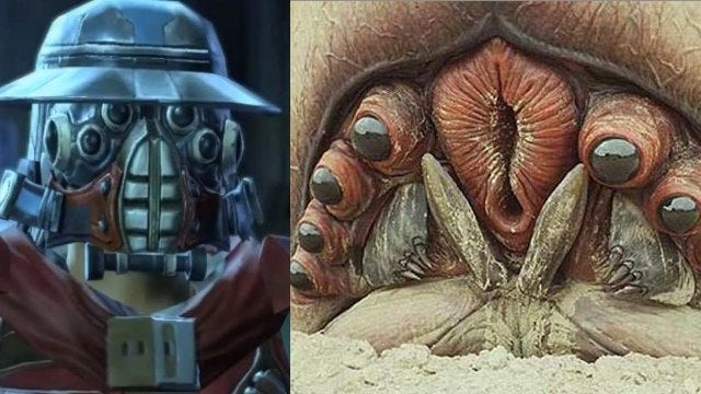 Did the newest Star Wars bounty hunter steal his look from Starship Troopers' brain bug?