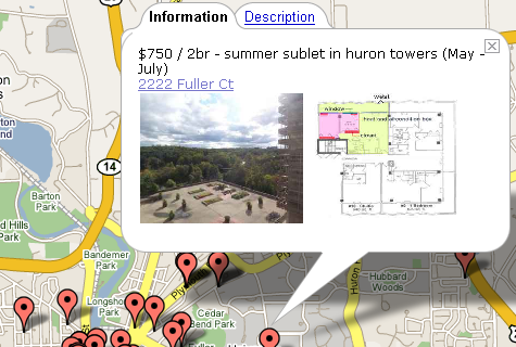 Find an apartment with Google Maps/Craigslist mashup