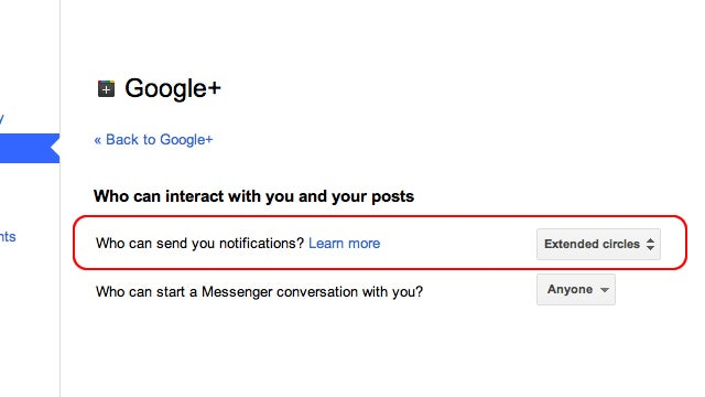 Google+ Now Lets You Decide Who Can Notify You of New Posts