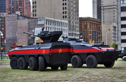 Red Dawn Tanks Invade Downtown Detroit