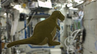 This stuffed dinosaur may be the first toy made in space