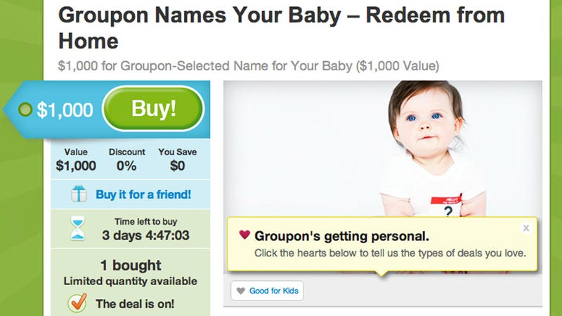 Obviously You Should Let Groupon Name Your Baby for You
