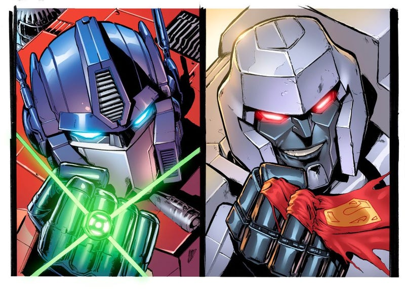 Here's art from the Transformers/Justice League comic that never happened