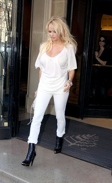 Pam Anderson's Double Dose Of Winter White