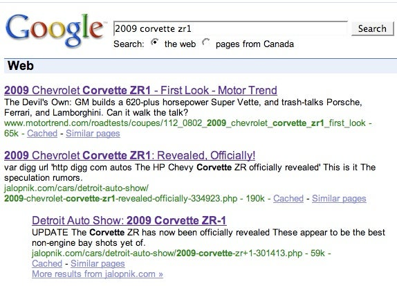 Motor Trend Gaming Google on the 2009 Corvette ZR1?