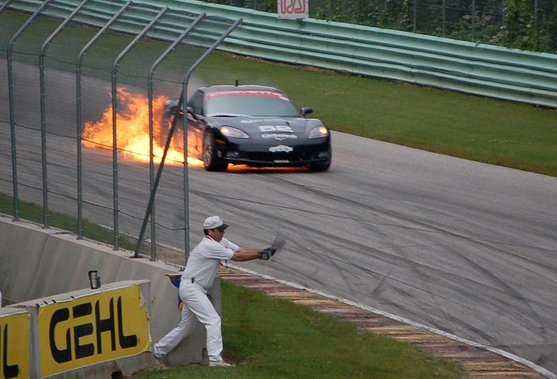 Racing Corvette Catches Fire In Dramatic Fashion