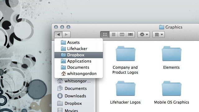 Hold the Finder's Back Button to See Your Recent Folders