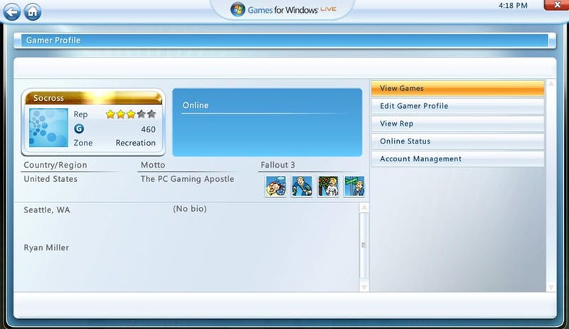 Say Hi To Your New Games For Windows Live