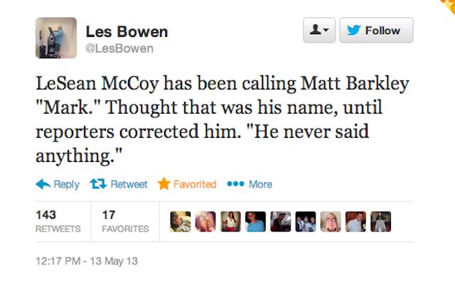 """LeSean McCoy Spent The Day Calling Matt Barkley """"Mark"""""""