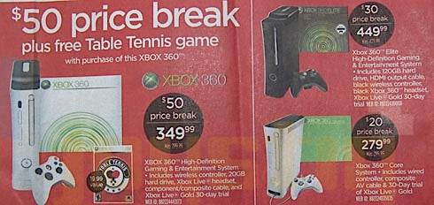 Xbox 360 Price Cuts: $50 off Premium, $20 off Core, $30 off Elite