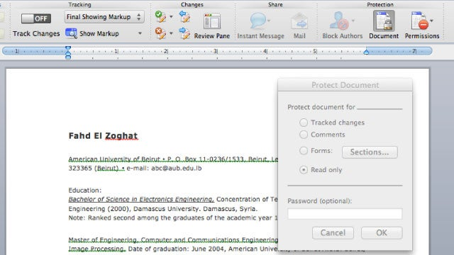 Make Your Resume and Other Word Documents More Presentable by Making Them Read-Only