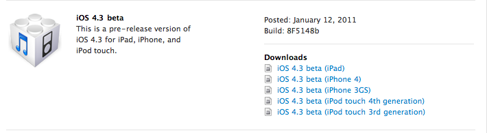 iOS 4.3 Beta and Pre-Release Apple TV Software Now Available to Apple Developers