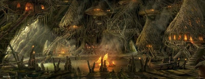 Concept art of the Rock Troll realm that was cut from Thor