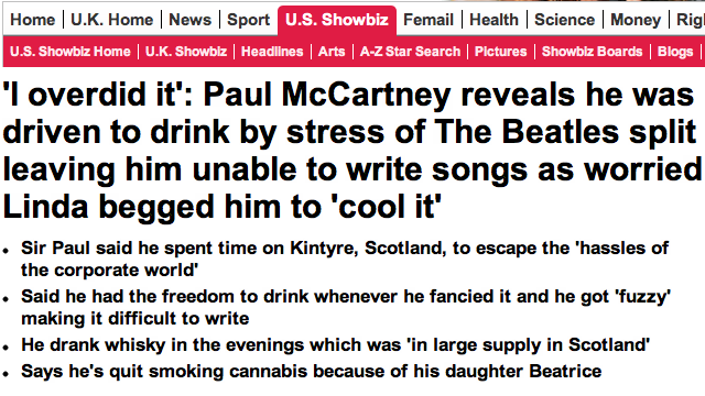 Drowned In Sound Says The Daily Mail Stole, Warped Paul McCartney Interview
