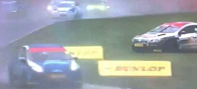 Unbelievably Lucky Racing Driver Cuts Through Entire Field Unharmed