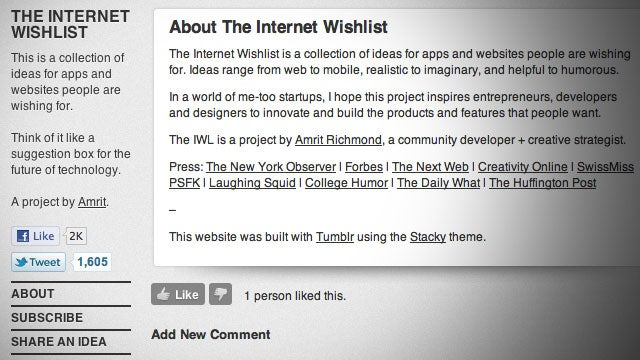 The Internet Wishlist Helps Make Your Ideas Happen