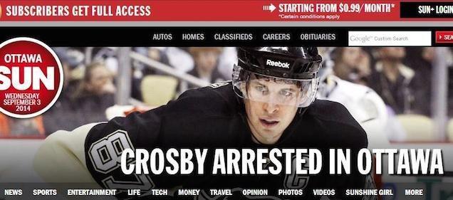 Sidney Crosby Was Not Arrested In Ottawa