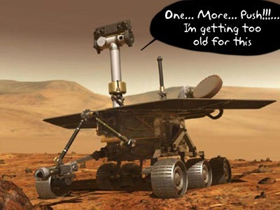 Spirit Rover Ready to Take...Those Sunken Wheels...