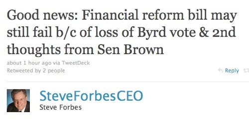 Steve Forbes Elated Over Robert Byrd's Death