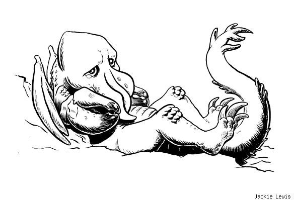 Sad baby monsters pair big eyes and sharp teeth