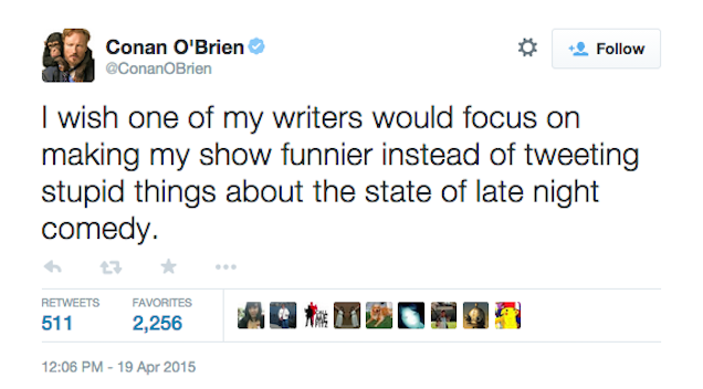 Conan Writer Tweets, Quickly Deletes Rant About Jimmy Fallon's Comedy