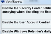 Disable Vista's Nagging Aspects with Vista4Experts