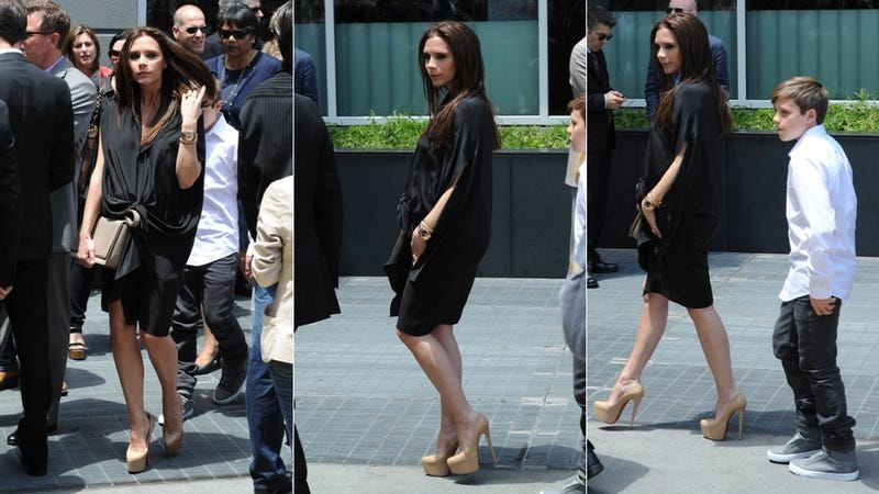 Pregnant Victoria Beckham Is Pleasing In Pleats & Platforms