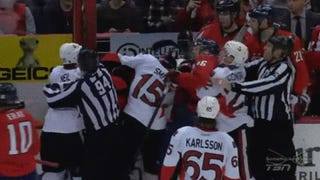 Erik Karlsson And Mike Green Hug Amid The On-Ice Chaos