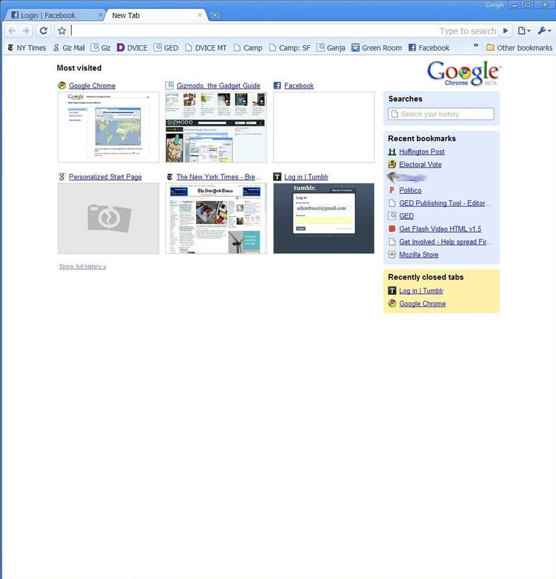 Google Chrome Hands On and First Impressions with Screenshots