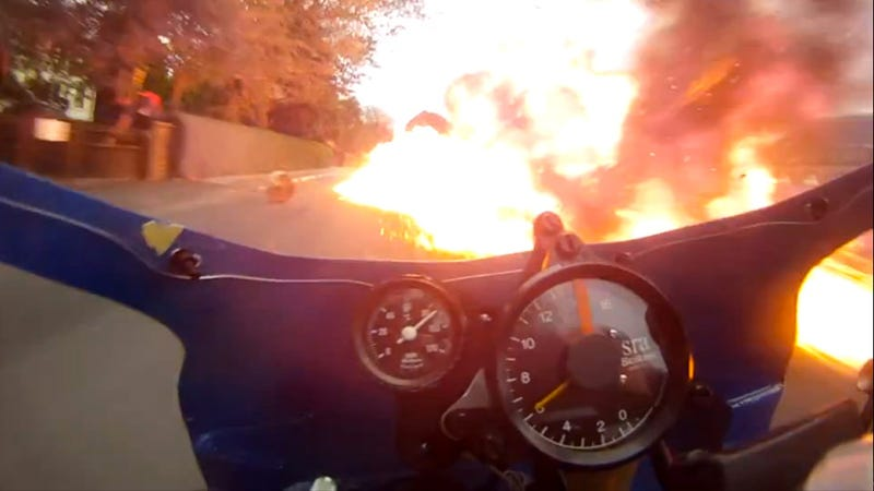Watch an amazing motorcyclist ride through an explosion