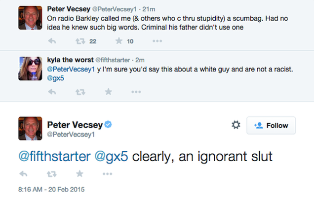 "Peter Vecsey Calls Woman An ""Ignorant Slut"" On Twitter"