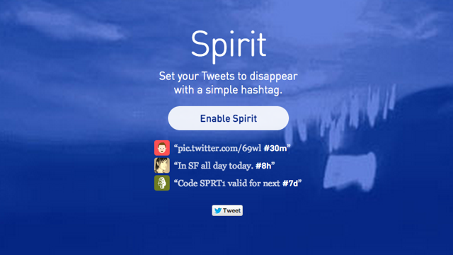 Spirit Deletes Time-Sensitive Tweets with a Simple Hashtag
