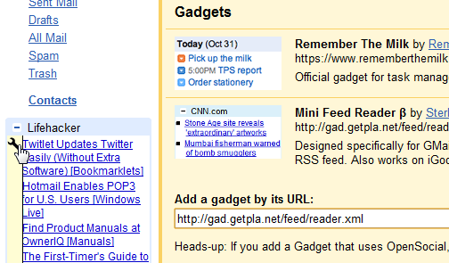 Feed Reader for Gmail Adds RSS Gadgets to Your Inbox