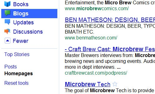 Google's Homepage Blog Search Finds Blogs in Your Interest Areas