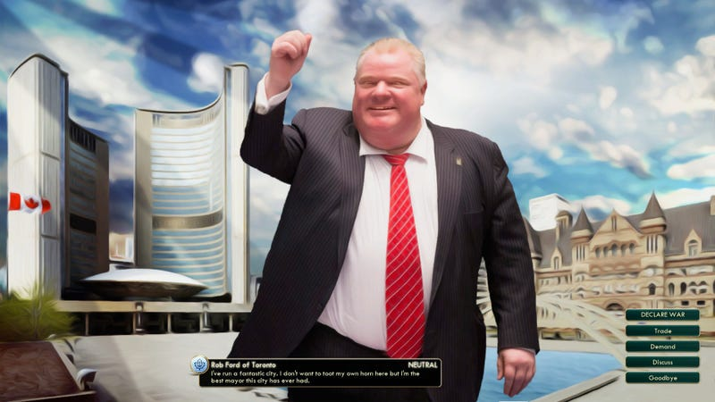 Play as Toronto, led by Rob Ford in Civilization V (UPDATE: April Fool's?)