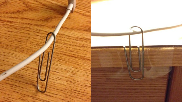 Keep Disconnected Cables on Your Desk with a Paper Clip