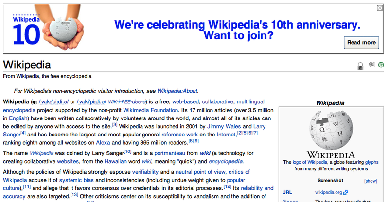 Wikipedia Celebrates 10 Years Today: Here Are Wikipedia's First Entries