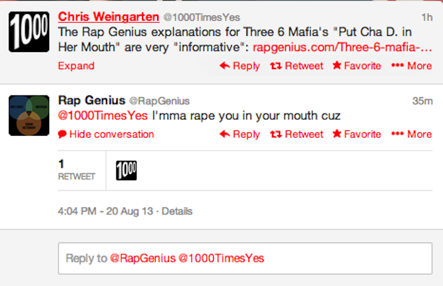 "Rap Genius: ""I'mma rape you in your mouth"""
