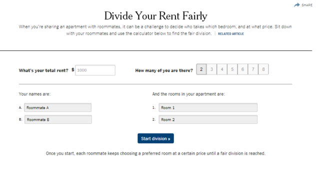 This Calculator Helps Roommates Choose Rooms and Split the Rent Fairly
