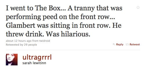 """OMG TRANNYPEEGATE!"" or ""Did Adam Lambert Get Peed On at The Box?"""