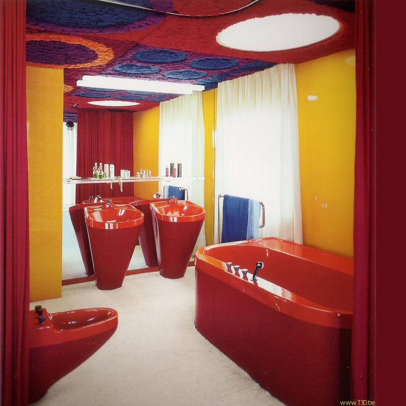 Plastic homes from the days when plastic was the future for 1970 bathroom decor