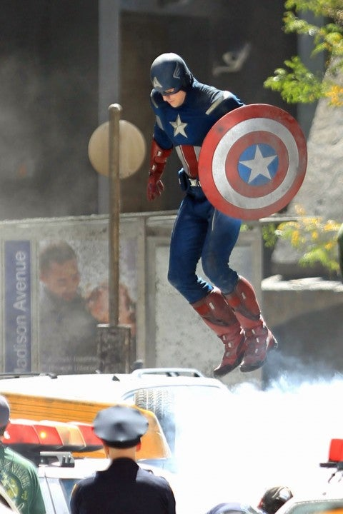 Watch Captain America fight a mysterious enemy on the set of The Avengers