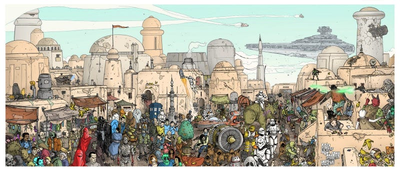 Scifi characters invade Tatooine, Where's Waldo-style
