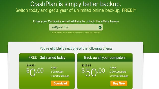 Grab a Free Year of Unlimited Backup from CrashPlan