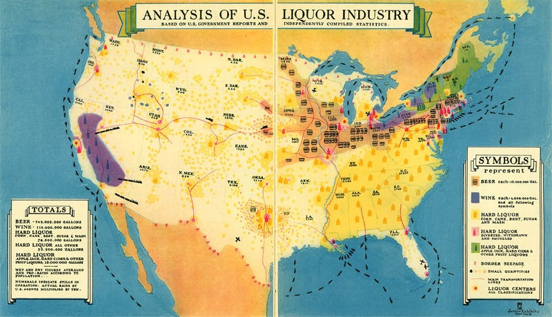 Cool Old Map: How Did Your State Get Its Liquor During Prohibition?