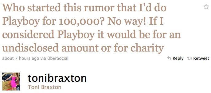 Toni Braxton Pretends She Didn't Start Playboy Rumor