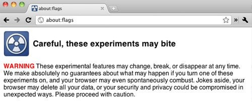 Chrome's About:Labs Renamed to About:Flags, Adds a Warning