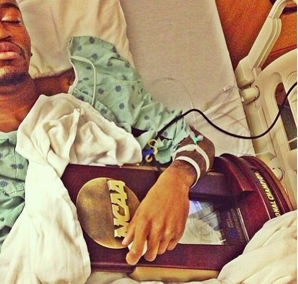 Here's Kevin Ware Holding His Team's Regional Championship Trophy While Recovering In The Hospital