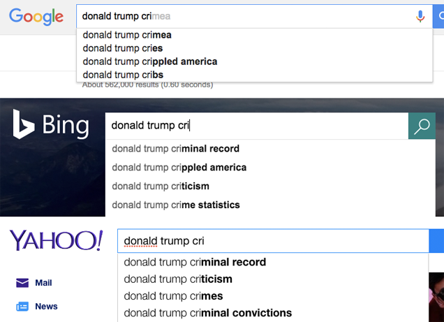 Donald Trump Casually Accuses Google of Suppressing Negative Clinton News
