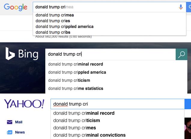 Donald Trump Casually Accuses Google of Suppressing Negative Clinton News